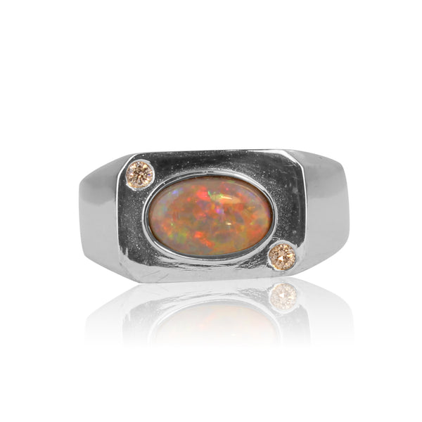 18kt White Gold Black Opal and Diamond ring