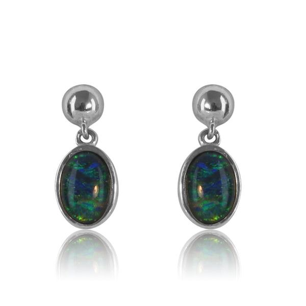 Sterling Silver dangling Opal triplet earrings