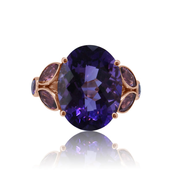 18kt Rose Gold Amethyst and Pink Tourmaline ring