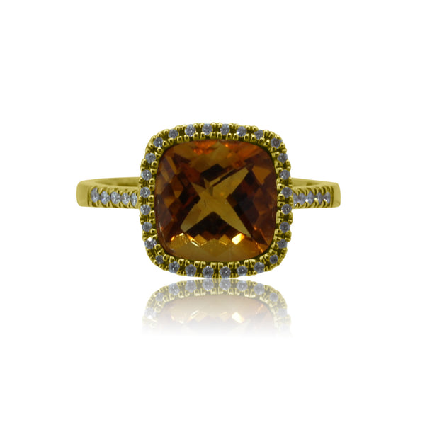 18kt Yellow Gold Citrine and diamond ring