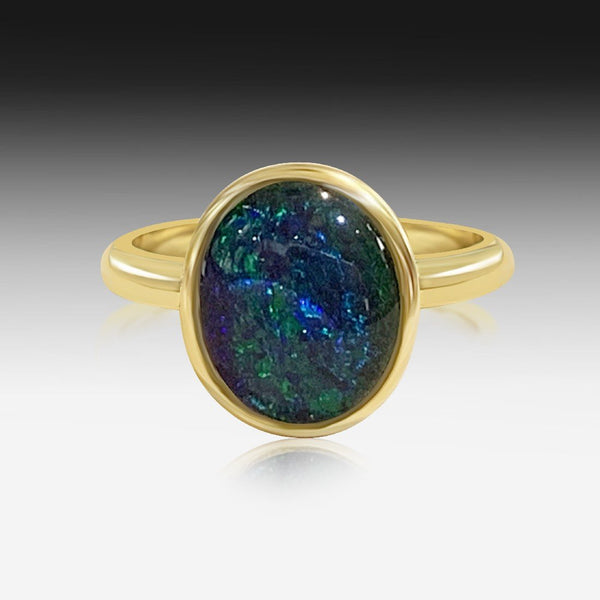 Sterling Silver Gold Plated Opal triplet ring
