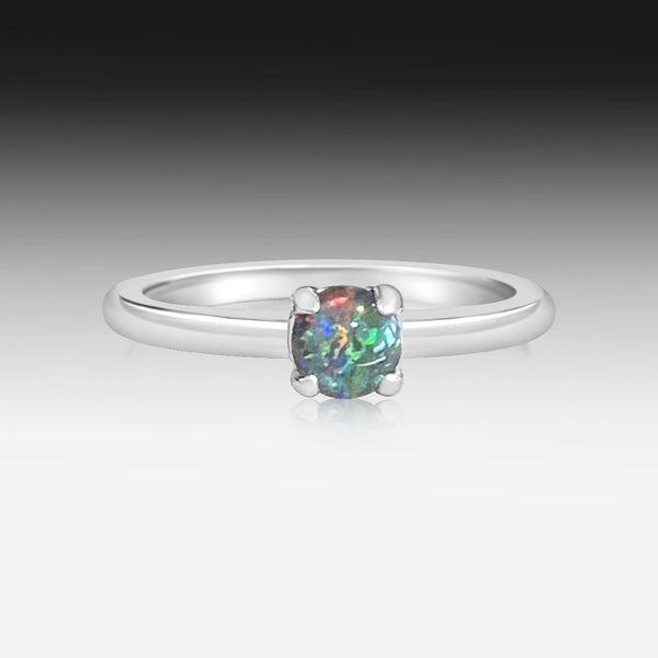 Sterling Silver Round Opal triplet solitaire ring
