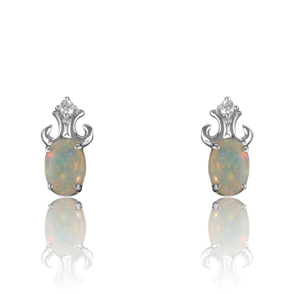 Sterling Silver Opal and cubic zirconia earrings