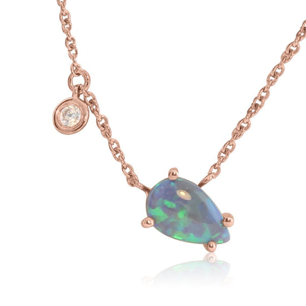 Sterling Silver Rose Gold plated necklace with Black Opal