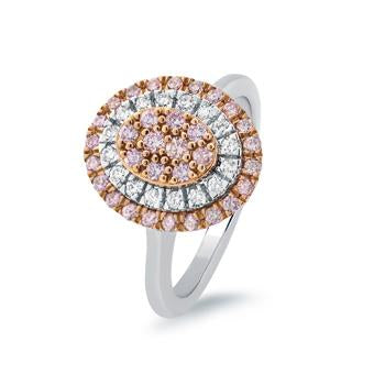 18ct Rose & White Gold Ring with Pink and White Diamonds
