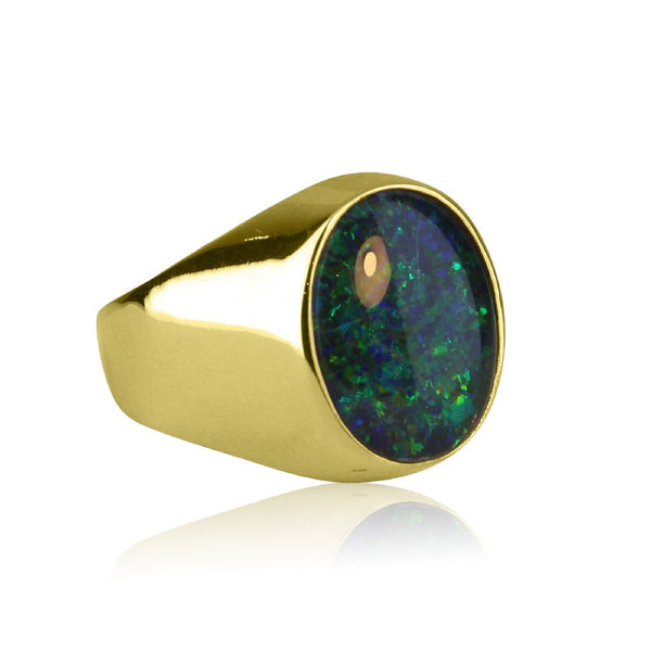 9kt Yellow Gold Opal triplet ring