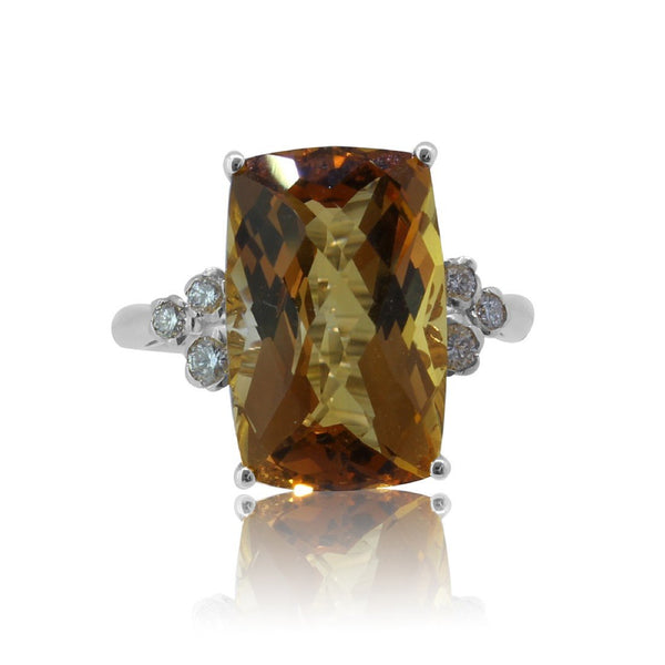 18kt Gold Citrine and Diamond ring