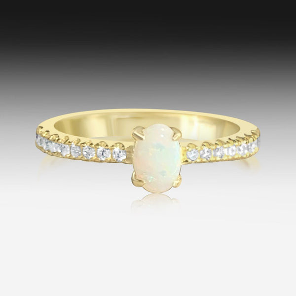 Sterling Silver Gold plated Light Opal and cubic zirconia ring - Masterpiece Jewellery Opal & Gems Sydney Australia | Online Shop