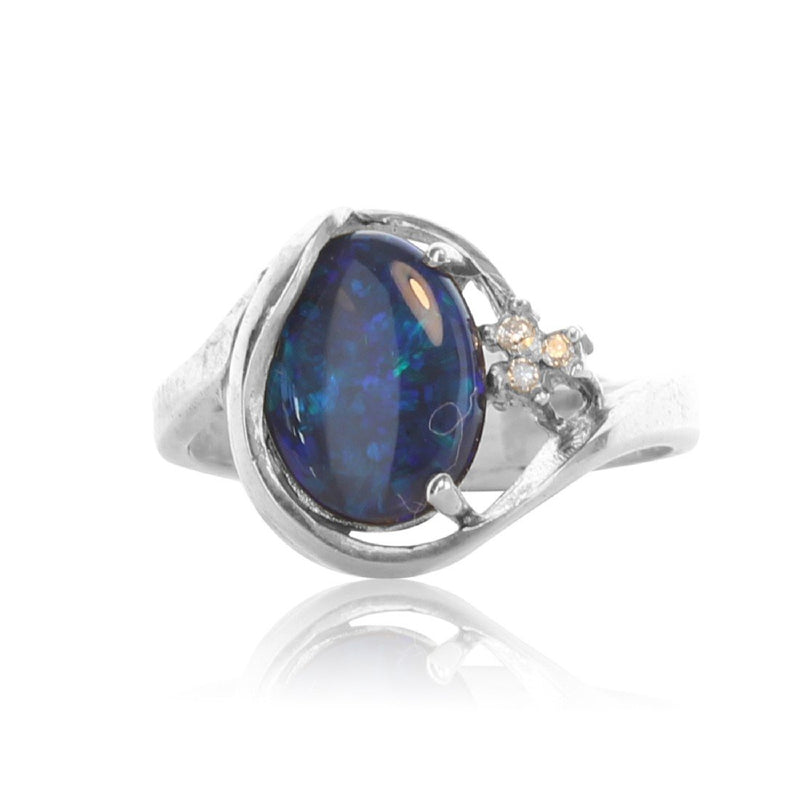 Sterling Silver Black Opal and diamond ring