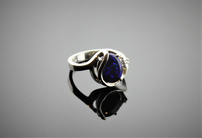 Sterling Silver Black Opal and diamond ring - Masterpiece Jewellery Opal & Gems Sydney Australia | Online Shop