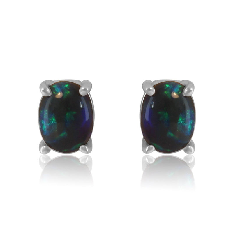 Sterling Silver Black Opal earrings