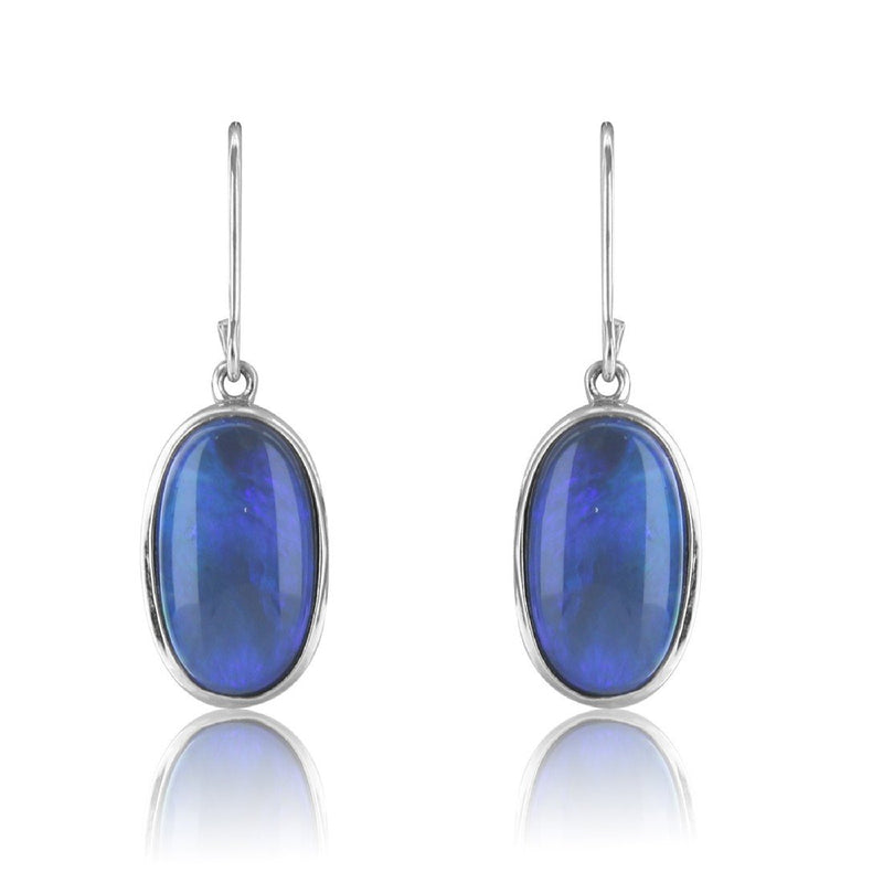 Sterling Silver Black Opal earrings - Masterpiece Jewellery Opal & Gems Sydney Australia | Online Shop