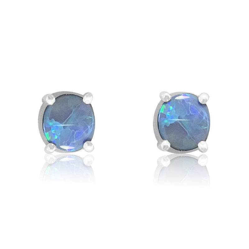 9kt Yellow Gold Black Opal studs - Masterpiece Jewellery Opal & Gems Sydney Australia | Online Shop
