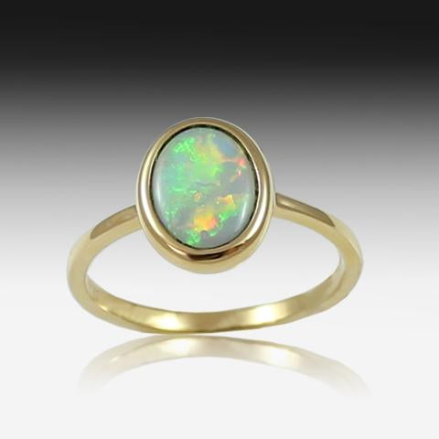 14kt Yellow Gold Opal ring - Masterpiece Jewellery Opal & Gems Sydney Australia | Online Shop