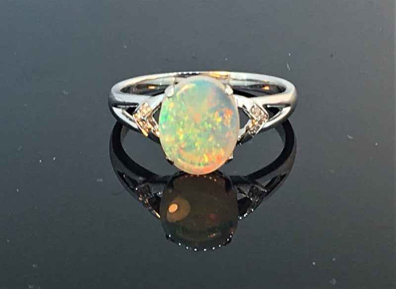 14kt White Gold Opal and Diamond ring - Masterpiece Jewellery Opal & Gems Sydney Australia | Online Shop