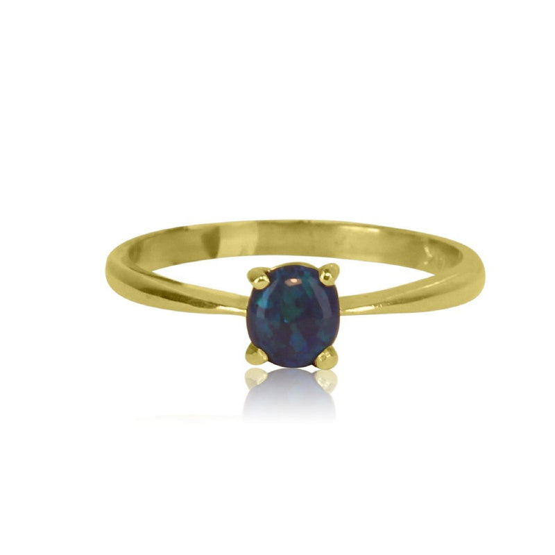 18kt Yellow Gold Black Opal ring