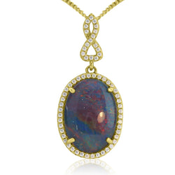Silver Gold plated Opal cluster pendant
