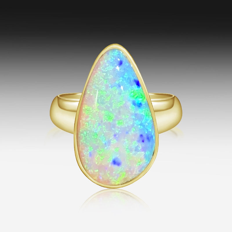 18kt Yellow Gold Boulder Opal ring - Masterpiece Jewellery Opal & Gems Sydney Australia | Online Shop