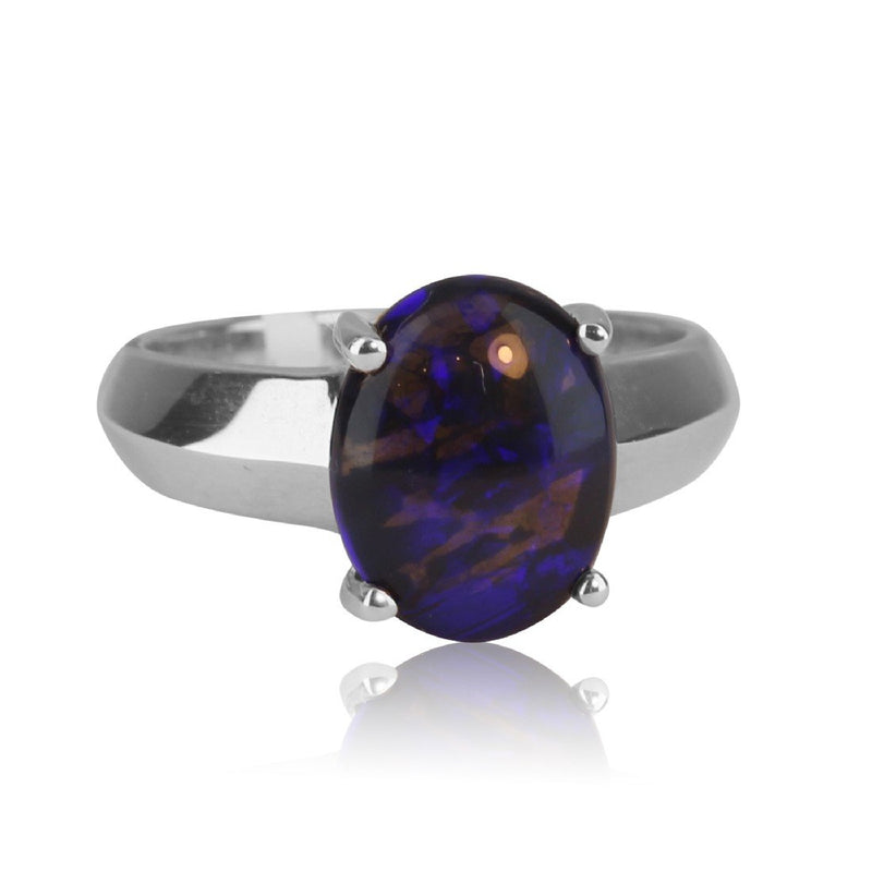 Sterling Silver Black Opal ring - Masterpiece Jewellery Opal & Gems Sydney Australia | Online Shop