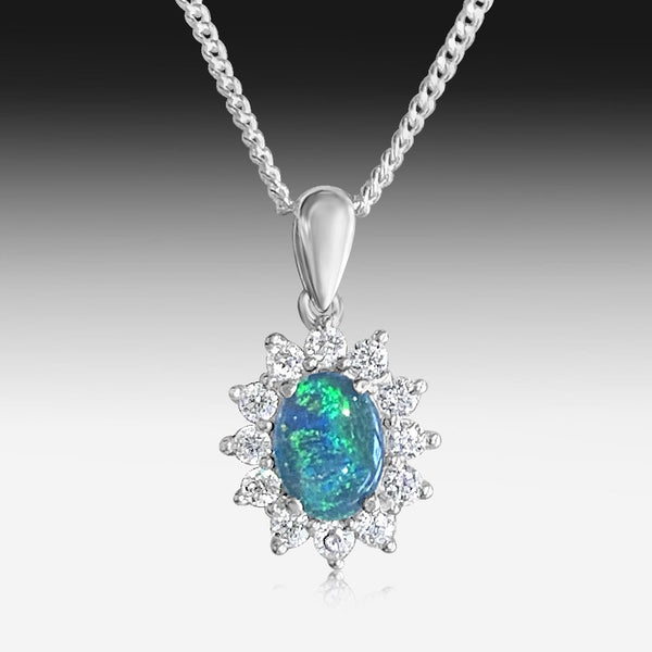 Sterling Silver cluster pendant with Opal triplet and cubic zirconia