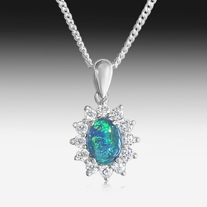 Sterling Silver cluster pendant with Opal triplet and cubic zirconia - Masterpiece Jewellery Opal & Gems Sydney Australia | Online Shop