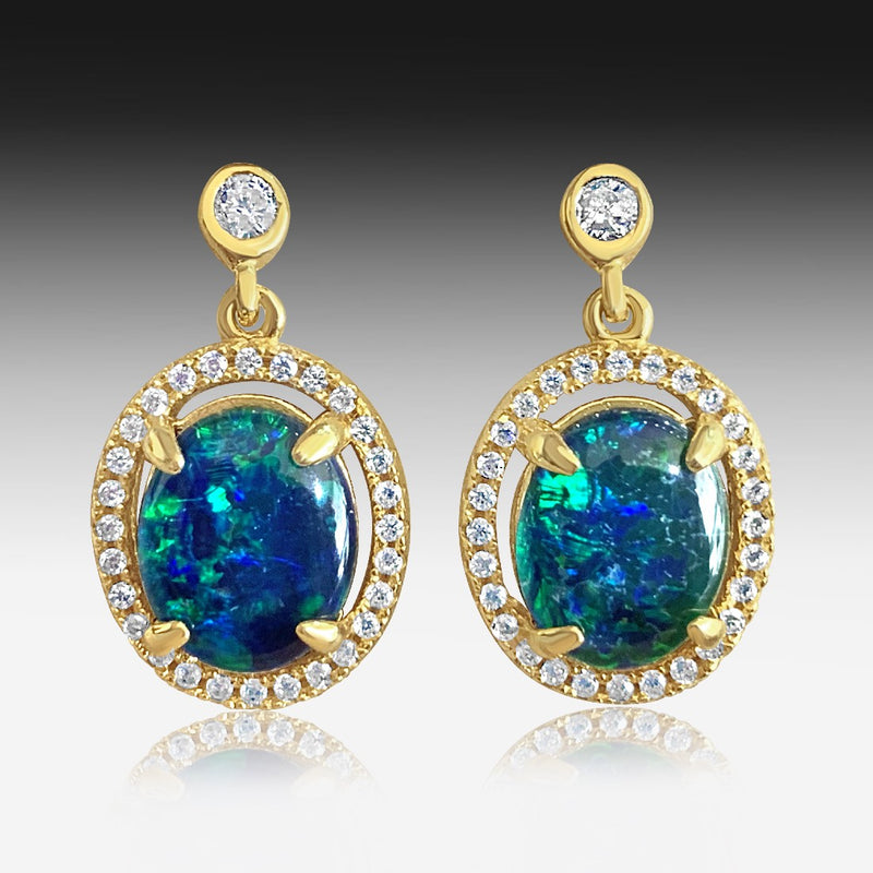 Silver Gold Plated Opal Triplet earrings - Masterpiece Jewellery Opal & Gems Sydney Australia | Online Shop