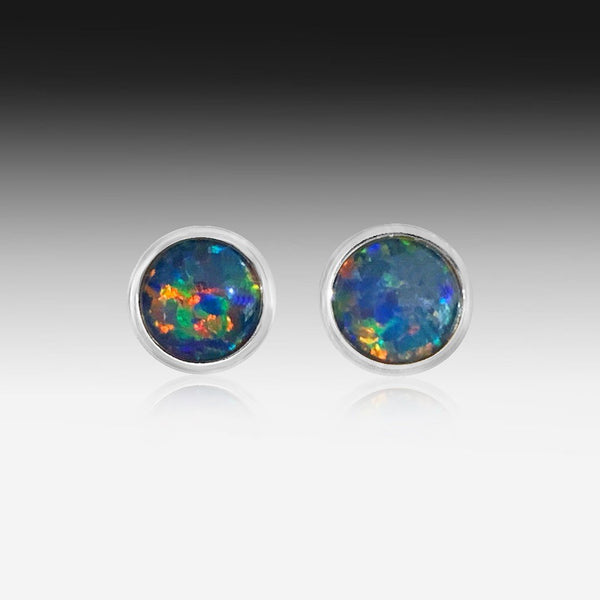 Sterling Silver Opal triplet round studs