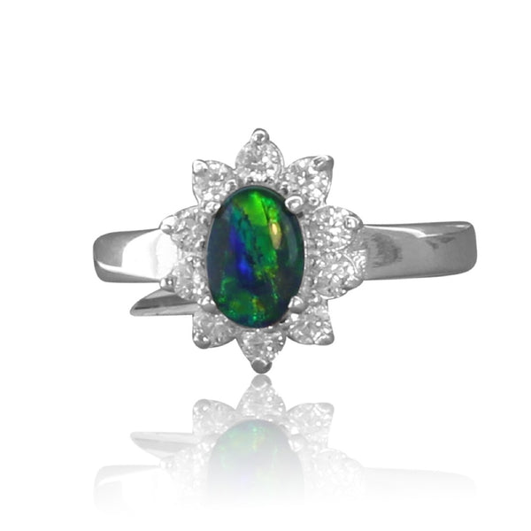 STERLING SILVER CLUSTER OPAL RING