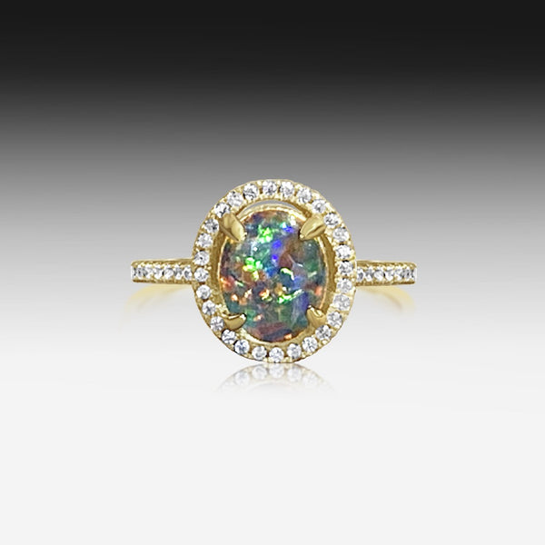 STERLING SILVER GOLD PLATED OPAL RING