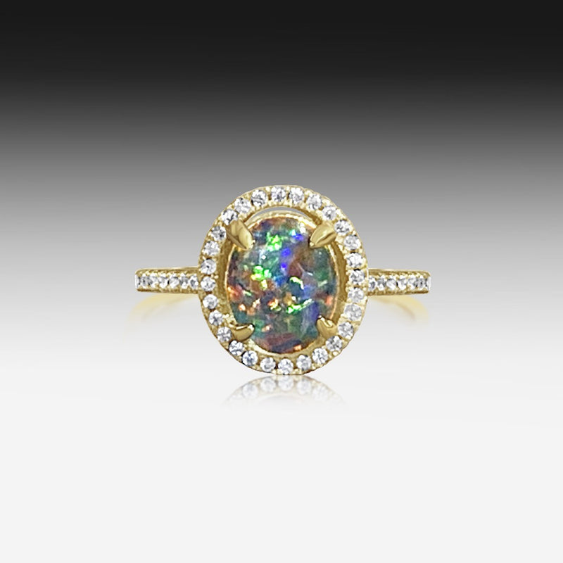 STERLING SILVER GOLD PLATED OPAL RING - Masterpiece Jewellery Opal & Gems Sydney Australia | Online Shop