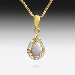 STERLING SILVER GOLD PLATED OPAL PENDANT