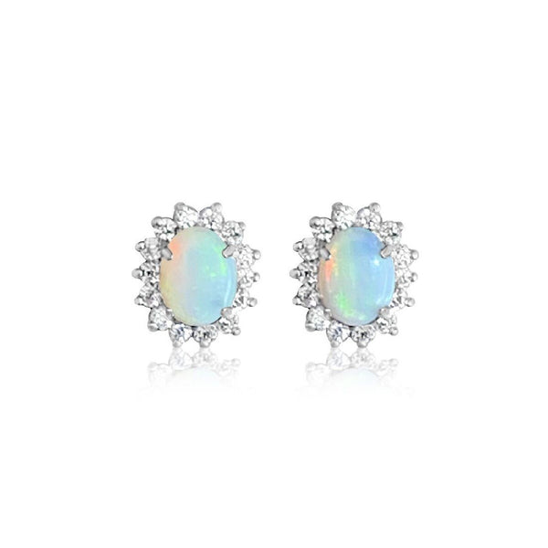 Sterling Silver Opal cluster earrings - Masterpiece Jewellery Opal & Gems Sydney Australia | Online Shop