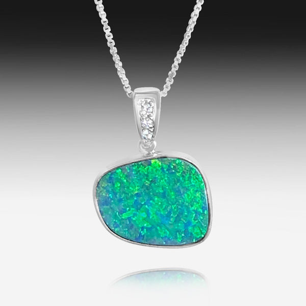 14kt White Gold Opal & DIamond pendant