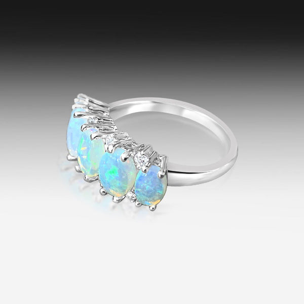 14kt White Gold Opal and Diamond ring
