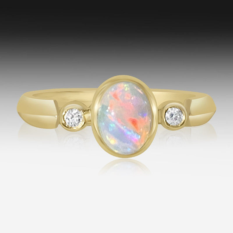 14kt Yellow Gold Opal and Diamond ring - Masterpiece Jewellery Opal & Gems Sydney Australia | Online Shop