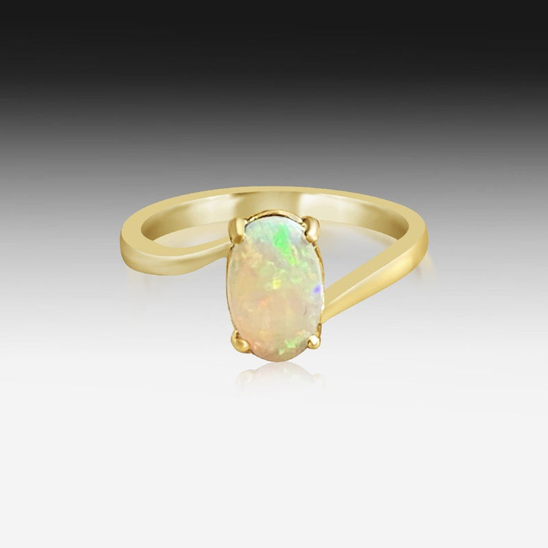 14kt White Gold solitaire Opal ring - Masterpiece Jewellery Opal & Gems Sydney Australia | Online Shop