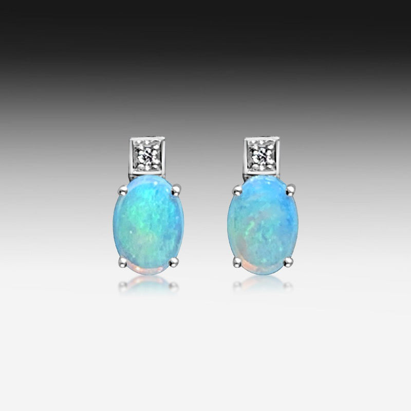 14kt White Gold Opal and diamond studs - Masterpiece Jewellery Opal & Gems Sydney Australia | Online Shop