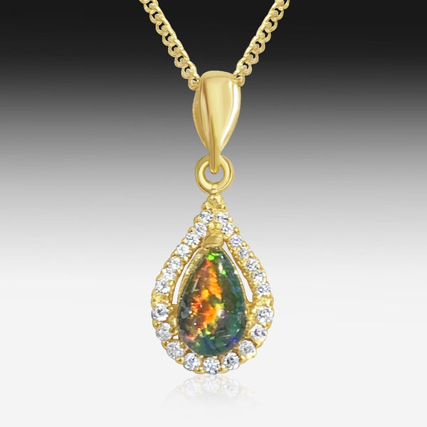 Sterling Silver Gold Plated Opal triplet and cubic zirconia halo pendant