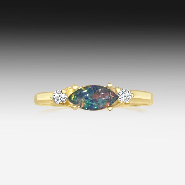 Sterling Silver Gold plated Opal triplet and cubic zirconia ring