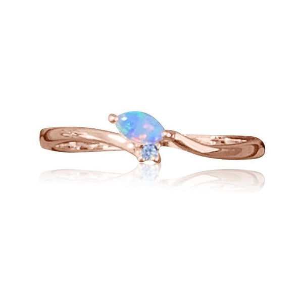 14kt Rose Gold Opal and Diamond ring - Masterpiece Jewellery Opal & Gems Sydney Australia | Online Shop