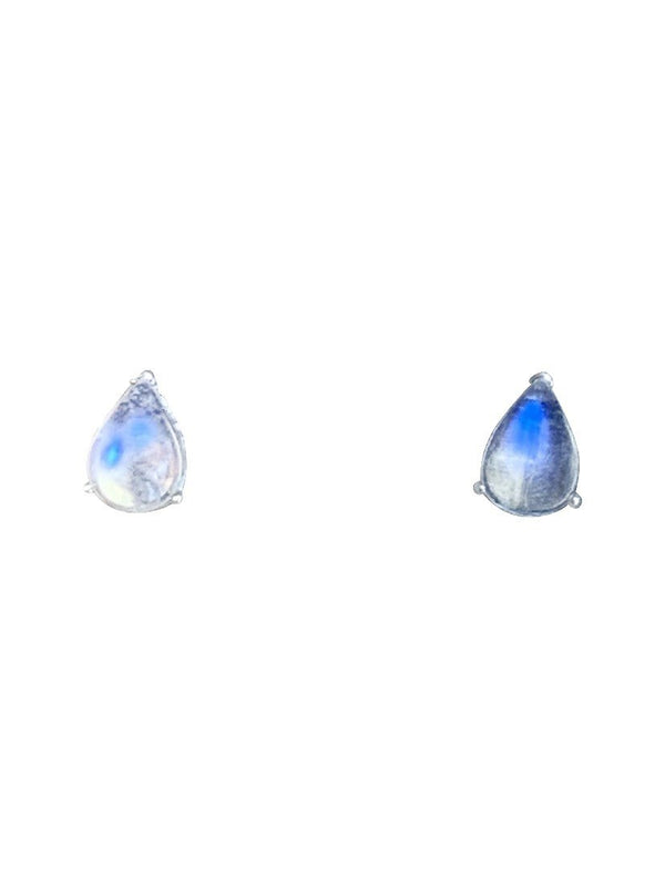 Sterling Silver Moonstone pear shape studs
