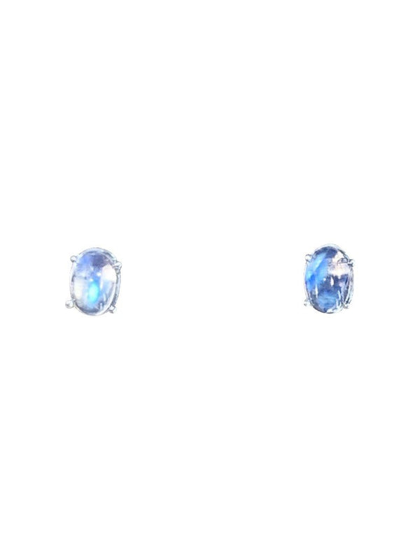Sterling Silver Moonstone Oval studs