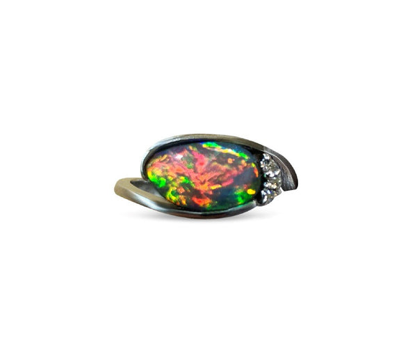 14kt White gold Black Opal and Diamond ring
