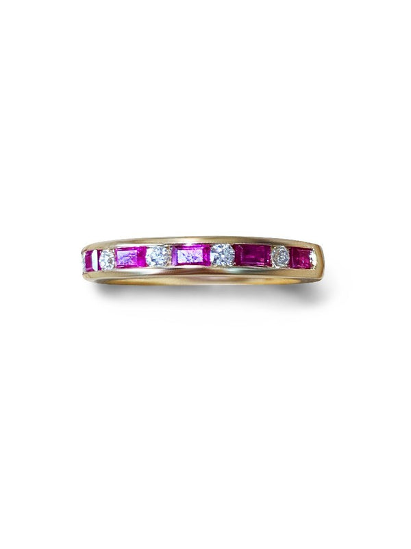 14kt Yellow Gold half eternity ring with Rubies and DIamonds