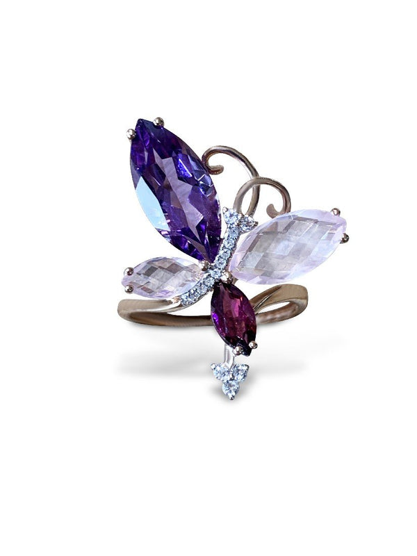 14kt Rose Gold butterfly style ring with Amethyst, Rhodelite, Rose Quartz and Diamonds