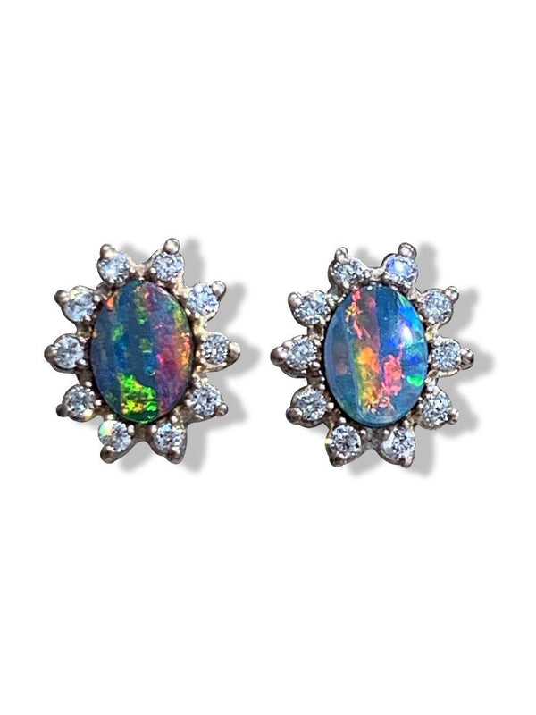 14kt Rose Gold Opal and diamond earrings