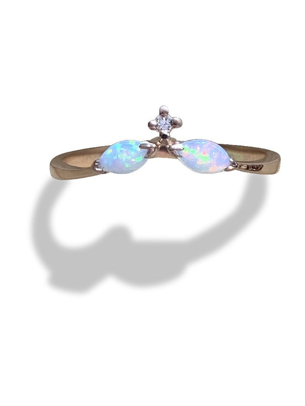 14kt Rose Gold Opal and Diamond ring