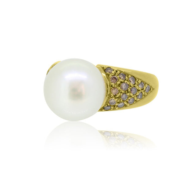 18kt Yellow Gold White Pearl and Champagne Diamond ring - Masterpiece Jewellery Opal & Gems Sydney Australia | Online Shop