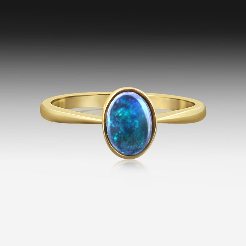 9kt Yellow Gold Black Opal ring - Masterpiece Jewellery Opal & Gems Sydney Australia | Online Shop