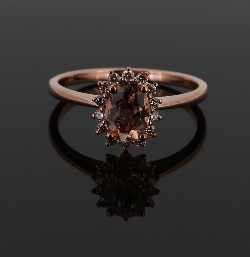 9kt Rose Gold Morganite and Diamond ring - Masterpiece Jewellery Opal & Gems Sydney Australia | Online Shop